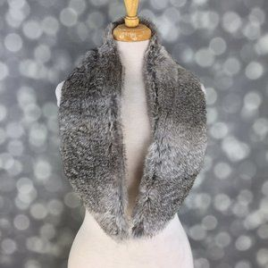Gray Genuine Rabbit Fur Detachable Collar